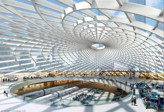 Skidmore Owings and Merrill, desenharam a cobertura da estação ferroviária para o trem de alta velocidade, localizada em Tianjin City, a leste de Pequim.que estará totalmente concluída este ano, e será uma rota diária para cerca de 6.000 passageiros, que passam através das suas portas