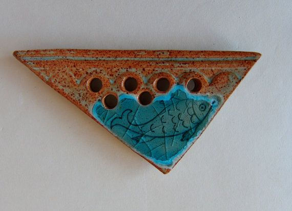 Soap dish with fish and melted glass design by TurnstonePottery