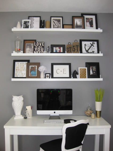 Love the shelves to the ceiling above a desk, diy shelves & desk.