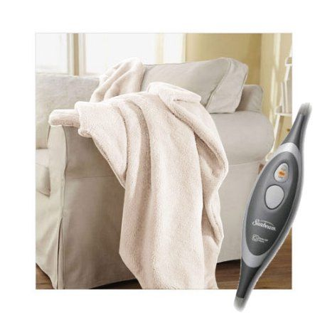 Sunbeam SlumberRest LoftTec Heated Electric Throw Blanket - Seashell
