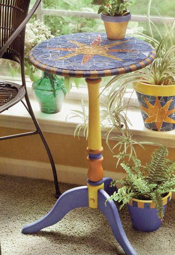 Mosaic Sun Table & Pots diy  http://www.craftsnthings.com/projects/details/1822/mosaic-sun-table-pots