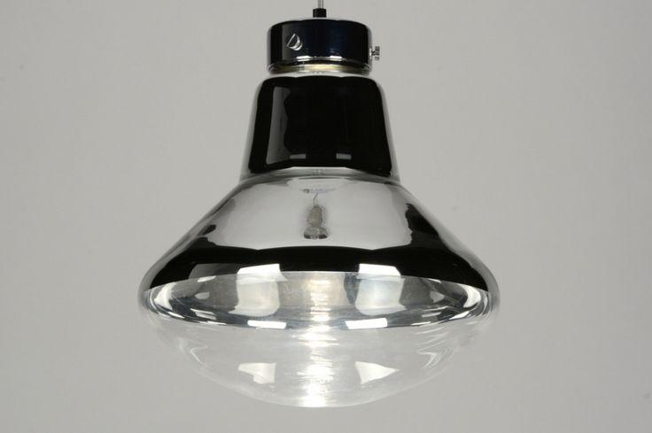 Hanglamp 71618 modern retro chroom glas helder glas zwart mat rond