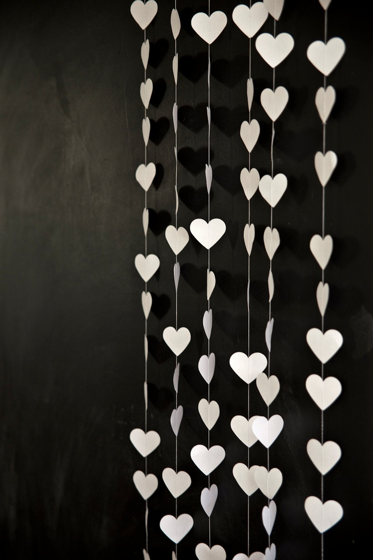 White Love Heart Garland, Love Heart Decoration ~ chicken and custard  / Etsy