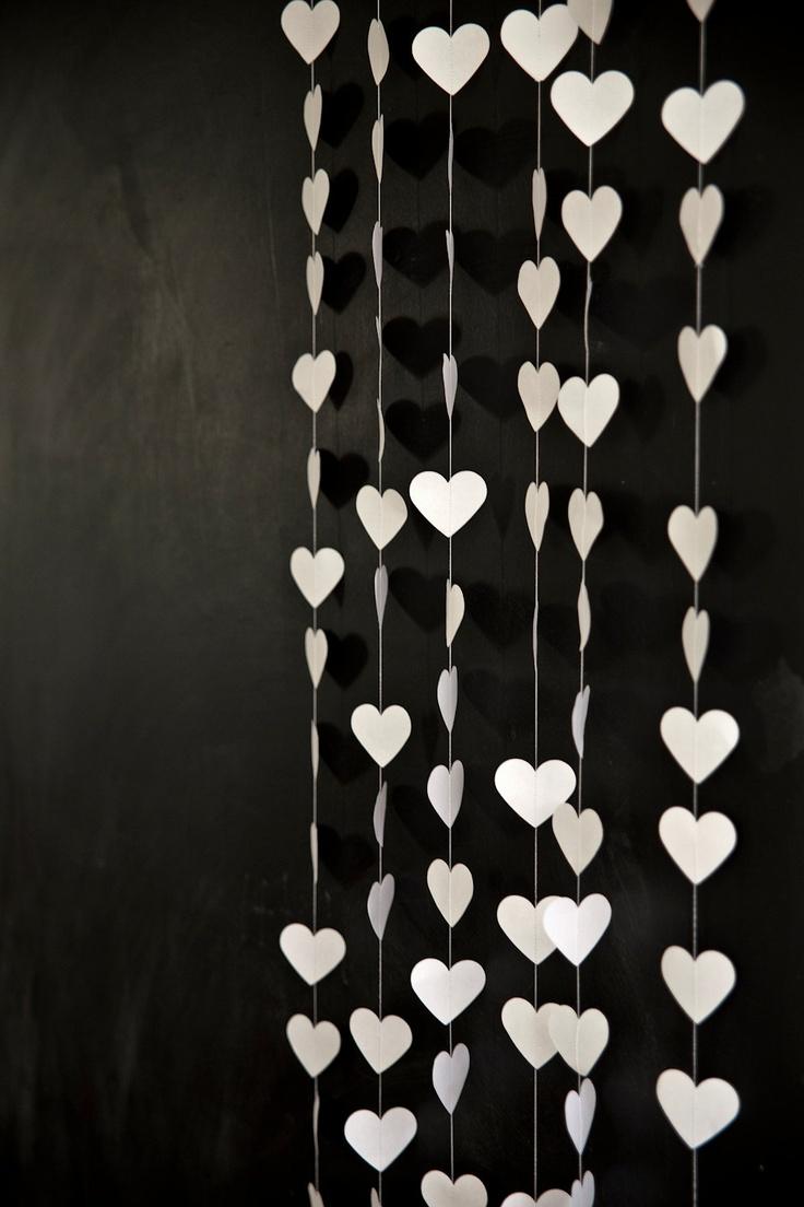 White Love Heart Garland, Love Heart Decoration ~ chicken and custard / Etsy