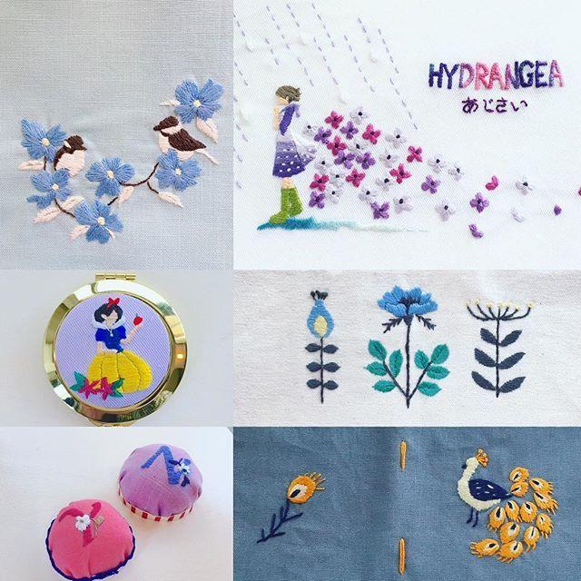 西荻窪の刺繍教室『アンナとラパン』参加者さんの作品。 あじさいちゃんの色違いが、ステキ♡…