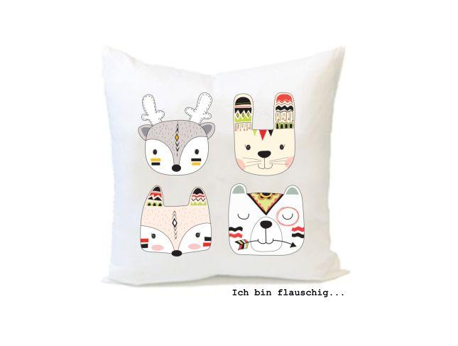 Valentinstagsgeschenke - Flauschiges Kissen INDIANER 40x40cm - ein Designerstück von MiKu4u bei DaWanda