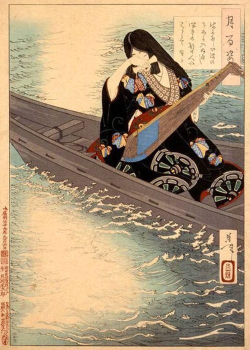 yamtai:    fromthefloatingworld:    Ariko Weeps as her Boat Drifts in the Moonlight, Tsukioka Yoshitoshi  Tsukioka Yoshitoshi (月岡芳年) is considered the last great master of ukiyo-e, and one of its greatest innovators.