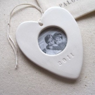 picture frame ceramic heart ornament 2011. Paloma's Nest. $44. Our first married Christmas ornament?