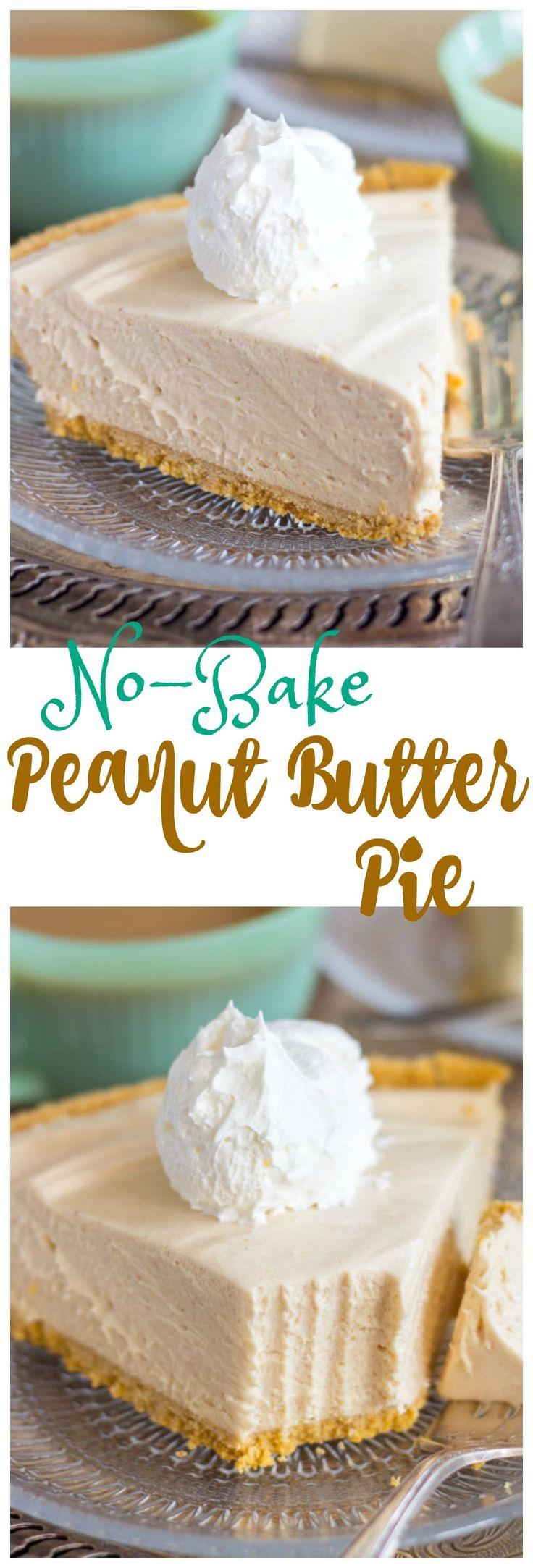 No-Bake Peanut Butter Pie recipe thegoldlininggirl.com pin