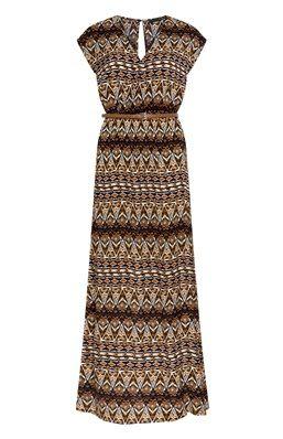 Robe longue avec ceinture à imprimé aztèque marron