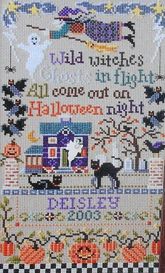 Sandra Cozzolino TRICKS and TREATS Halloween Sampler By The Design Connection - Counted Cross Stitch Pattern Chart on Etsy, $7.75