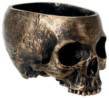 Brass Colored Half Face Skull Planter with Round Open Top Head - mediterranean - Holiday Decorations - StealStreet
