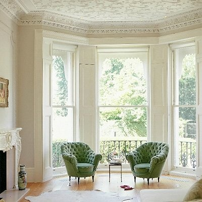 prettyBays Windows, Sitting Area, Interiors Design, Living Room, Reading Nooks, Sitting Room, Green Chairs, Windows Shades, White Room