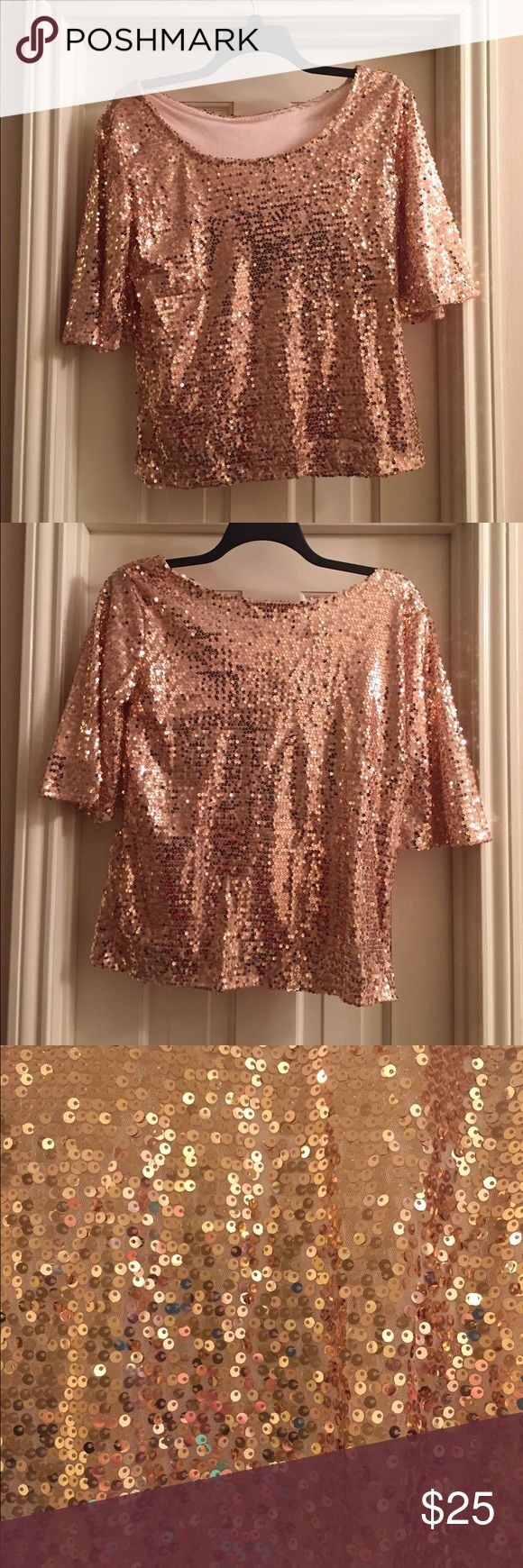 NWOT Rose gold sequin shirt I adore this shirt but it was too big for me when I ordered it. Perfect for holiday parties!! Tops Blouses