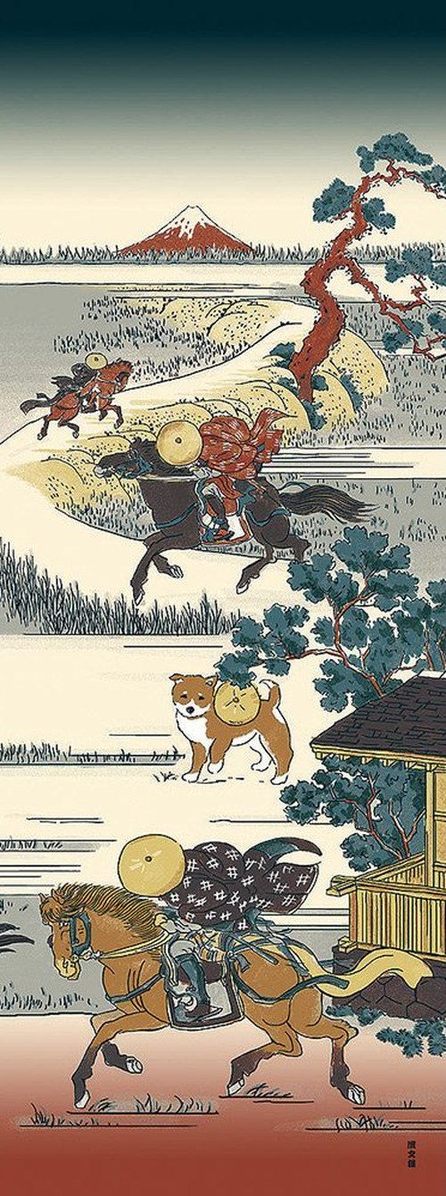 Japanese Tenugui Cotton Fabric, Hand Dyed Fabric, Shiba Inu Dog, Horse, Mt.Fuji, Ukiyoe Style Design, Wall Art Hanging, Gift Wrapping, JapanLovelyCrafts