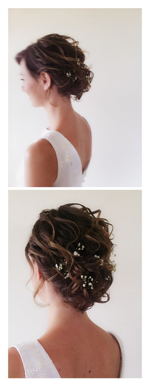 Wedding hairstyle for short,straight fine hair. Technique combines middle size curls with strong styling spray and pins.Decorated with real flowers. www.marketazuares.com