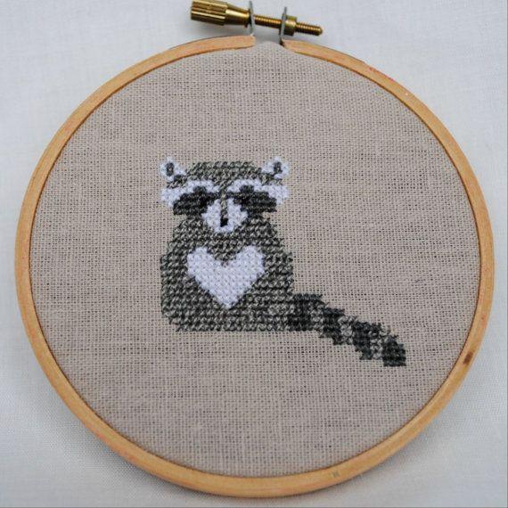 Raccoon Cross Stitch Pattern PDF Forest Animals Modern Nursery Counted Cross Stitch Digital Download