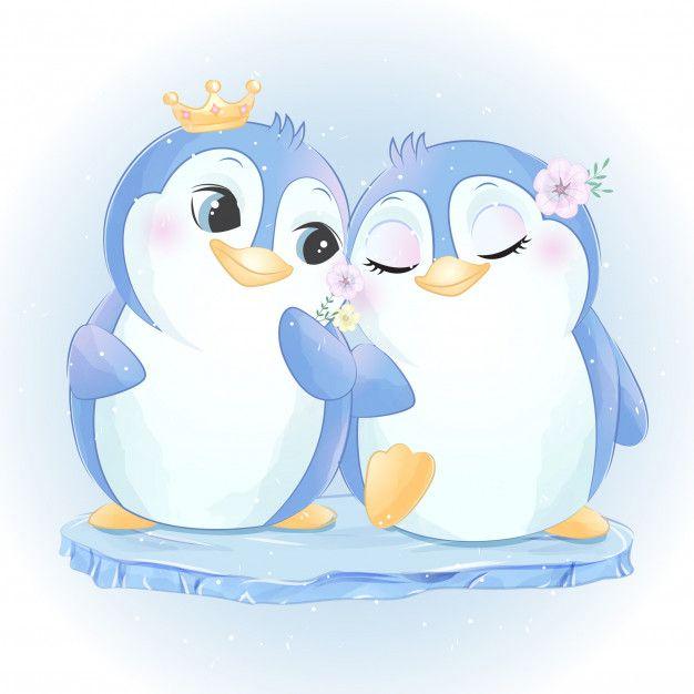 Cute Two Little Penguin Premium Vector Freepik Vector Watercolor Animal Couple Illustration In 2020 Baby Animal Drawings Cute Animal Illustration Cute Drawings