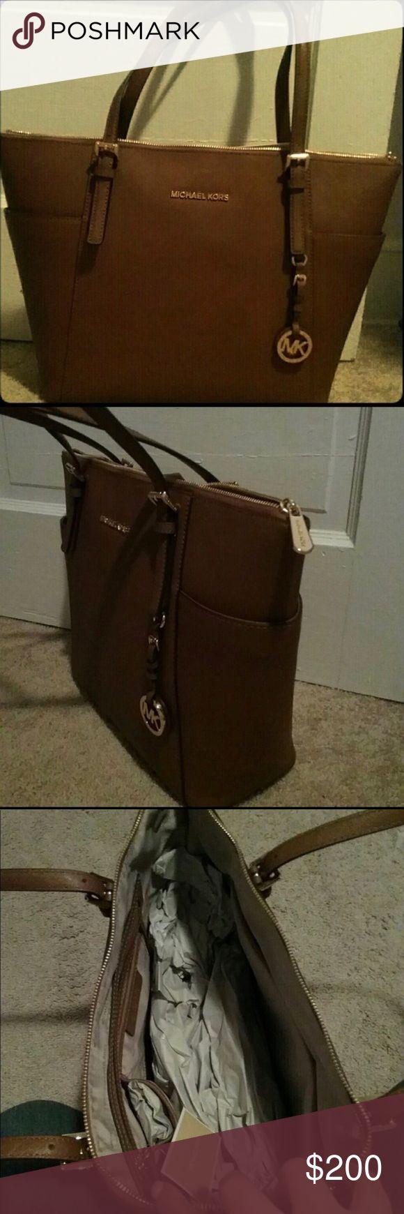 NWT Michael Kors Jet Set Bag Light Brown New with tags never used or worn! Michael Kors Bags Totes