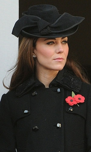 Duchess of Cambridge attends Remembrance Sunday (16 Nov 2011) at the Cenotaph wearing DvF coat and a Jane Corbett Hat