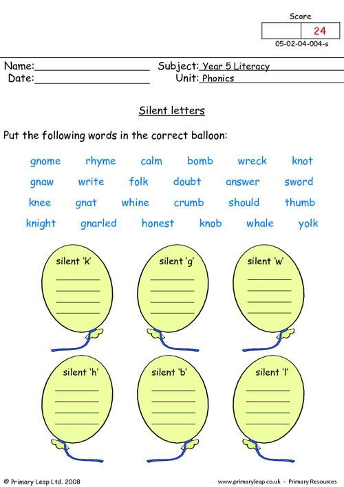 Silent letters | PrimaryLeap.co.uk