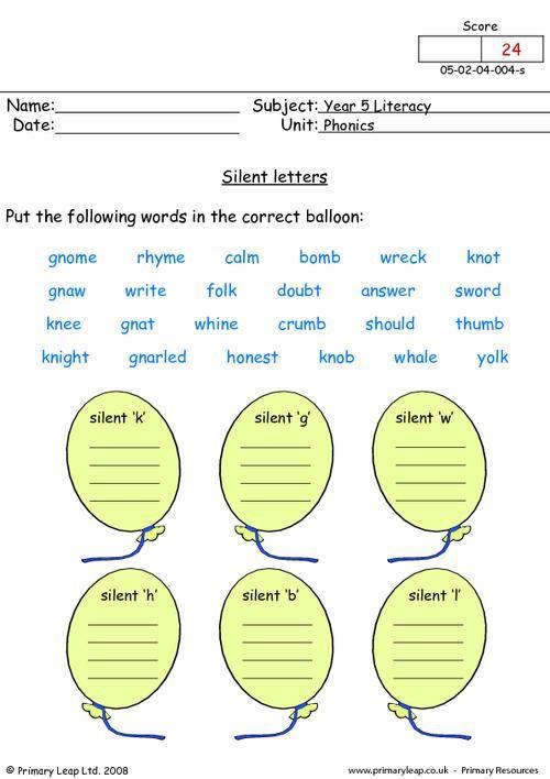 Worksheet For Be Quiet : Silent letters worksheets kidz activities