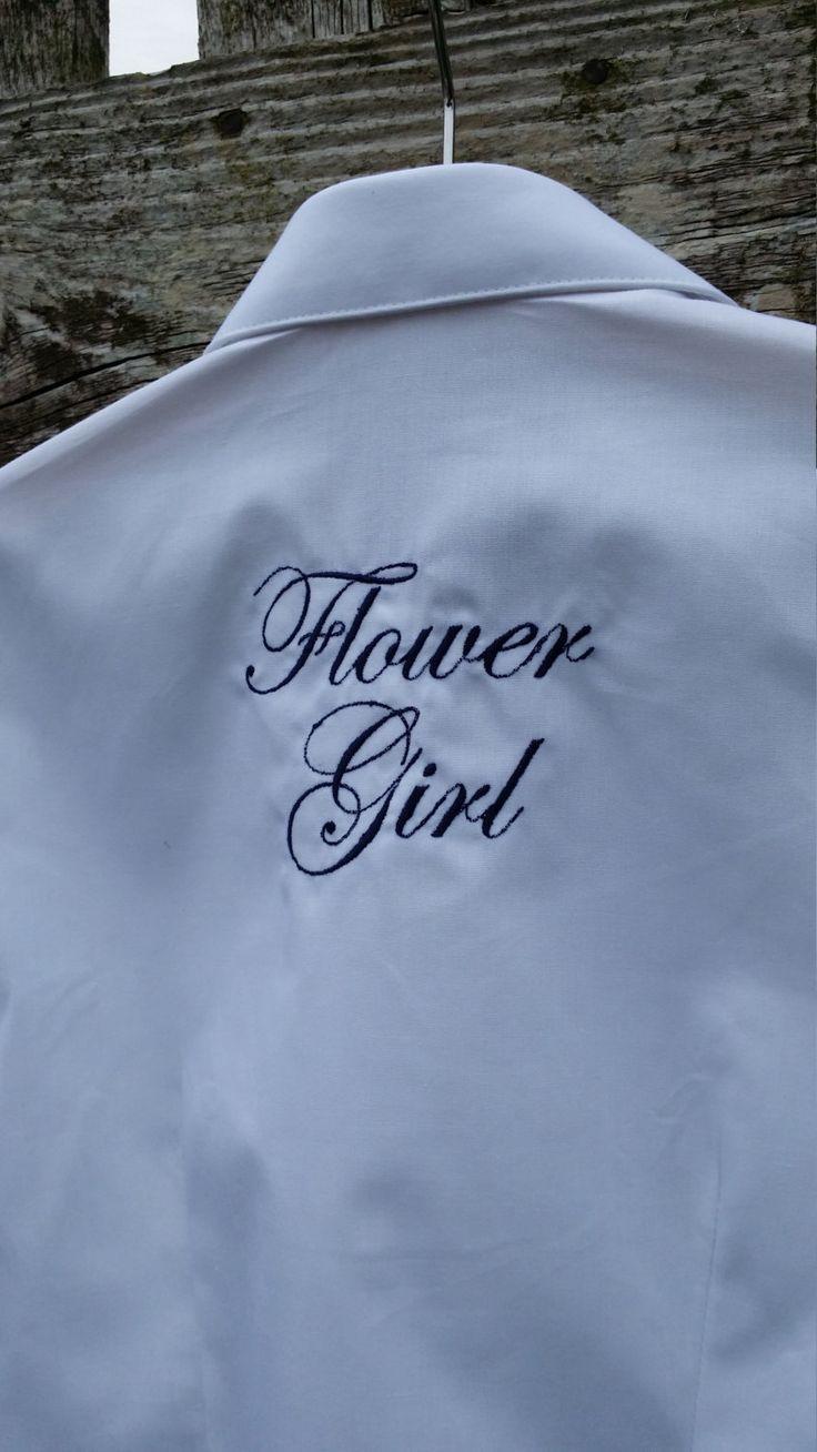 Bridal Oversized Shirt - For Child, flower girl - Personalised with name, initials, monogram, beautifully boxed, bridesmaid, England UK by MadeByMAP on Etsy