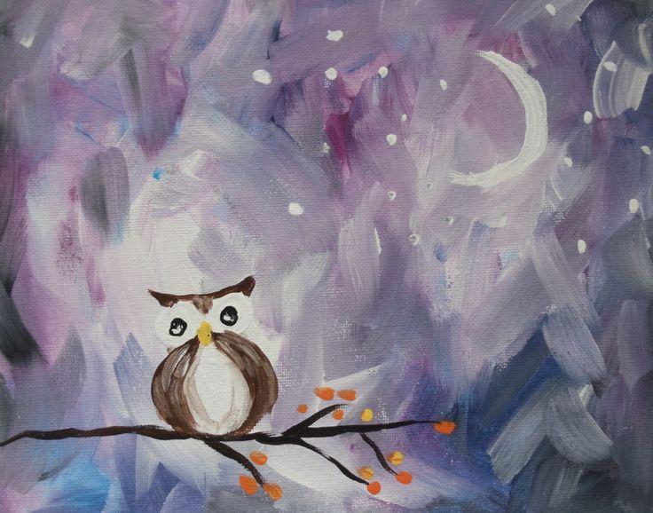 """Nancy Hunter """"Owl"""" in Acrylic Paint 8 x 10"""