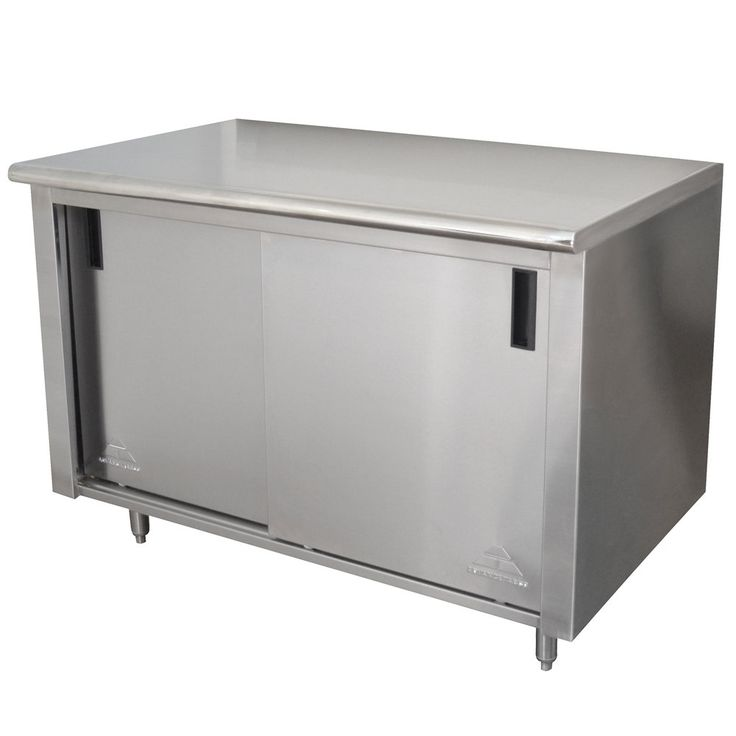 """Advance Tabco CB-SS-304 30"""" x 48"""" 14 Gauge Work Table with Cabinet Base"""