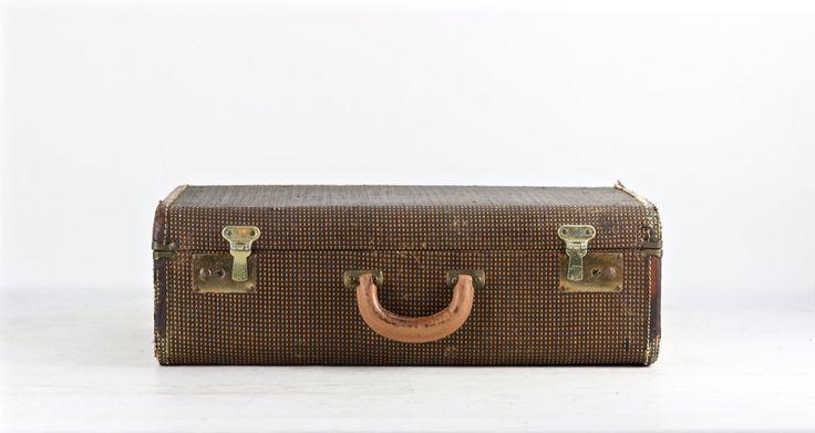 Suitcase Vintage, Vintage Suitcase, 1940's Suitcase, Old Suitcase, Old Luggage, Tweed Suitcase, Antique Suitcase, Black Tweed Stuicase by HuntandFound on Etsy