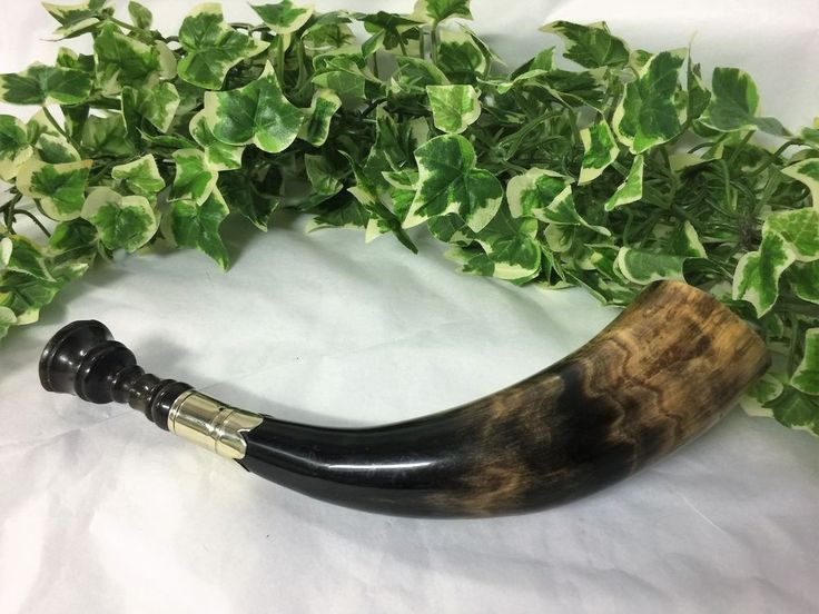 Antique Bovine Cow Blowing Horn Trumpet Hunting Horn Wood & Silver Plate Mount