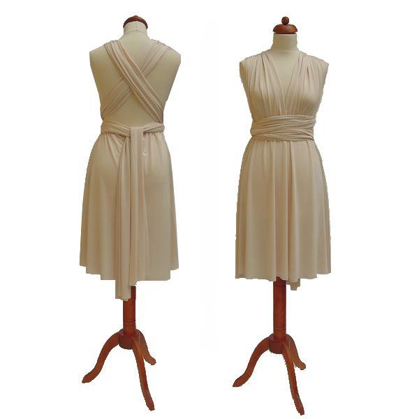 Krátké krémové šaty. Variabilní šaty Convertibles jsou ideální na svatbu, maturitní ples, společenské akce i denní nošení. Uvažte si je jakkoliv budete chtít a pokaždé v nich můžete vypadat jinak.