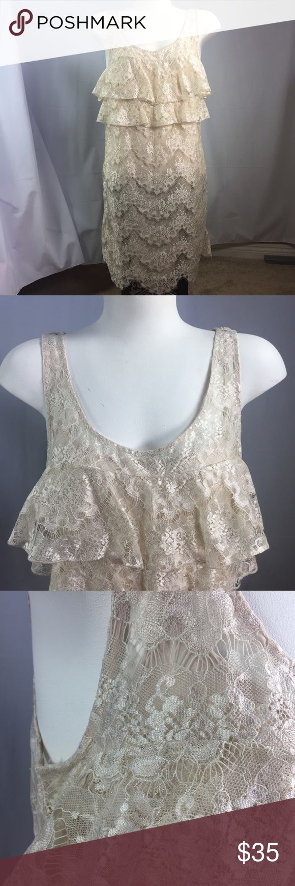 FREE PEOPLE Lace Ruffle Dress Blush, Cream Sz 8 Delicate sleeveless lace dress with an inner spaghetti strap slip, straps are adjustable. Preowned, in good condition, no flaws. Free People Dresses Midi