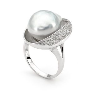 18ct White Gold SS Pearl & Diamond 'Cup' Ring - Shop our jewellery store in Port Fairy - Victoria, Australia.