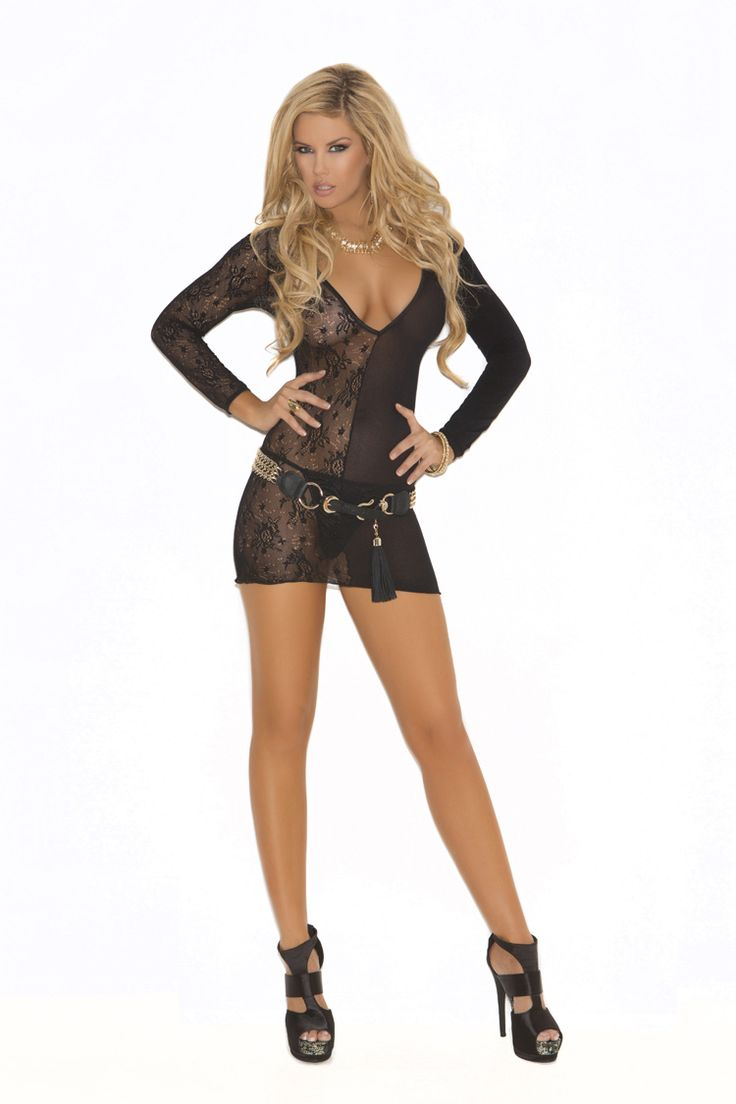 Lace & Opaque Dress one size