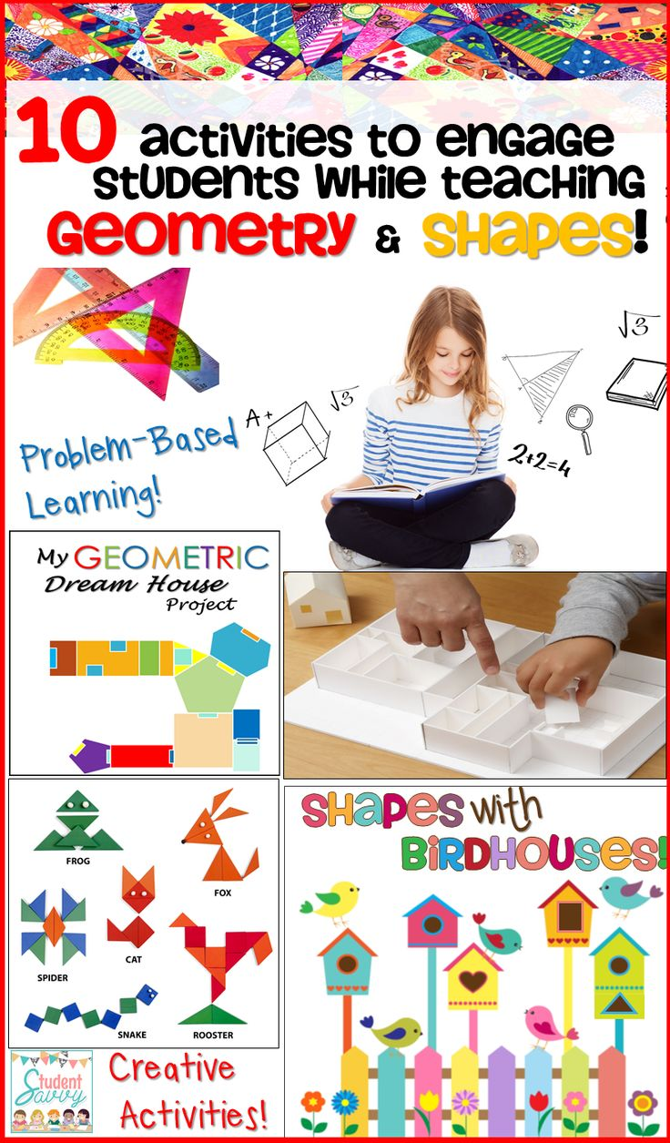 Great activities for teaching geometry and 2-D/3-D shapes! #geometry #shapes #teachingresources