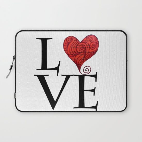Love word with zen red heart Laptop Sleeve Love bears all things, believes all things, hopes all things, endure all things, LOVE NEVER ENDS
