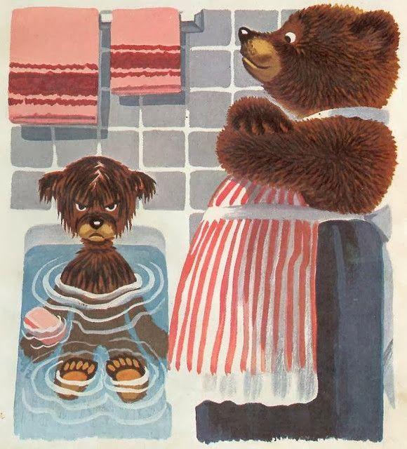 baby bear bathtub by dutch illustrator robert wagt
