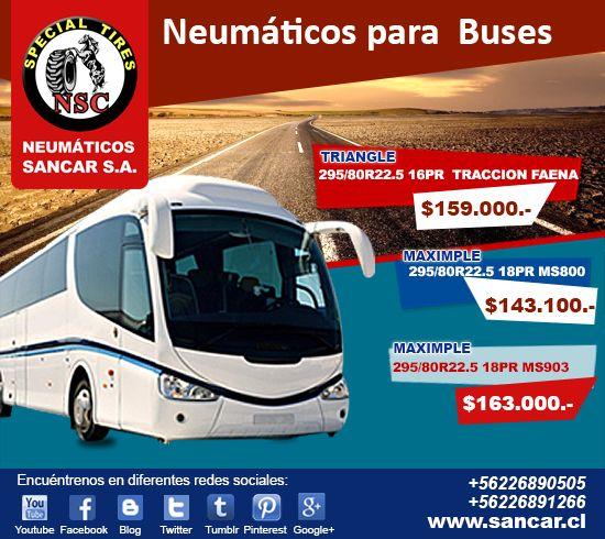 Ofertas Insuperables Neumáticos para Buses www.sancar.cl – ventas@sancar.cl - Antillanca 560 módulo 5 Lo Boza Pudahuel - Teléfono +56226890505   Bascuñán Guerrero 540 Santiago - Teléfono +56226891266