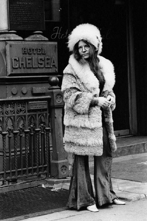 Janis Joplin in front of the Chelsea Hotel on 23rd street