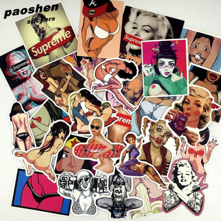 50 Pz/lotto Styling Pvc Impermeabile Sexy Ragazze di bellezza Adesivi Per Il Computer Portatile Moto Bagaglio di Skateboard Decalcomania Toy Sticker