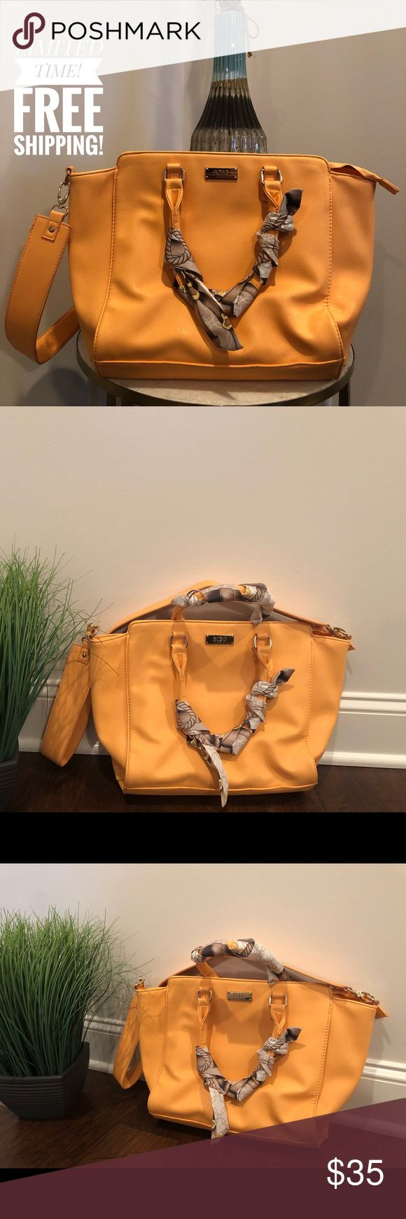 SALE 🔥 BCBG PARIS Satchel Light Peach Bag NEW 🔥 BCBG PARIS Satchel Light Peach Bag includes a shoulder strap and scarfs on both handles. Beautiful Light Peach color for the summer! BCBG Bags Satchels