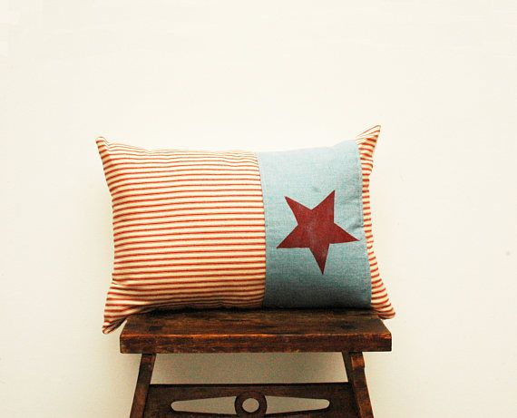 Fourth of July Hand Printed and Individually Created Pillow Cover, red white and blue, Americana, Holiday, Memorial Small lumbar 4th of July