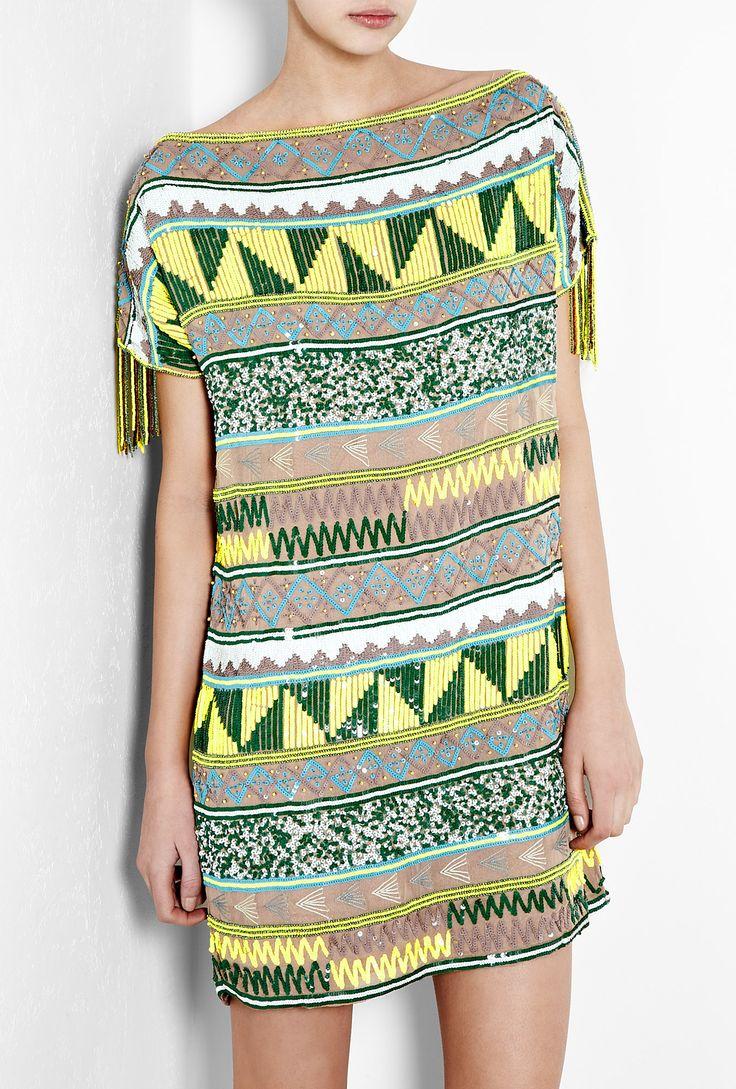 Jacara Aztec Beaded Mini Dress by Antik Batik
