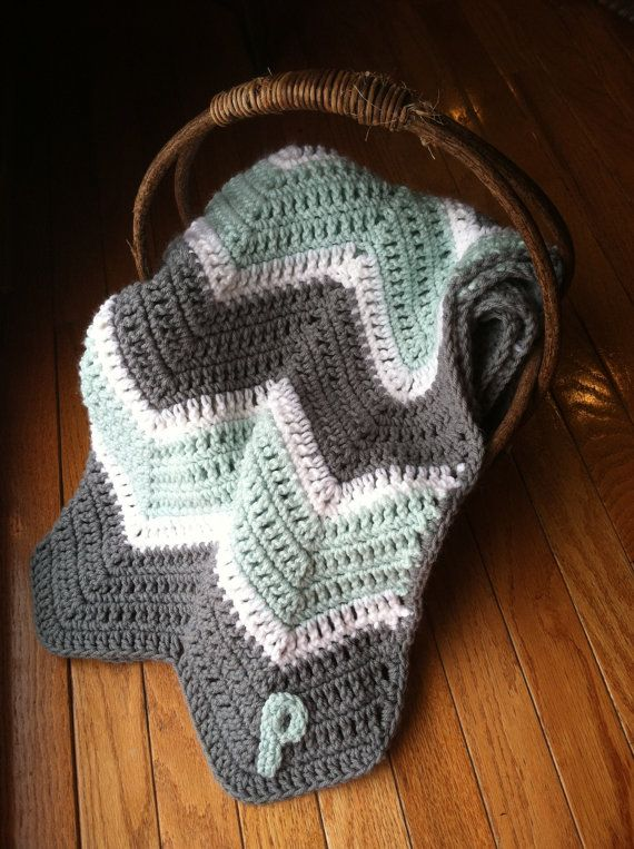 Personalized Chevron Blanket/ Baby or Toddler/ by LaBlancheBiche, $55.00