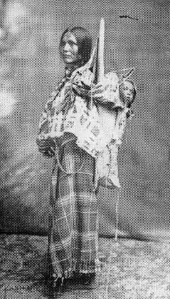 Sacagawea - interpreter for Lewis and Clark during the U.S. government's first exploration of the Northwest. Sacagawea's role was to help negotiate safe and peaceful passages through tribal lands.  (there are no known photos of sacagawea, pictured is another Shoshone woman made late in the 19th century)