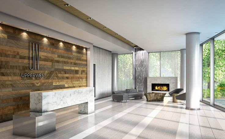 Lobby: Clean, contemporary and inviting. Accented by a signature feature wall, lounge area with fireplace and three high-speed elevators for swift, convenient access to suites and parking levels. And a concierge to welcome you home.