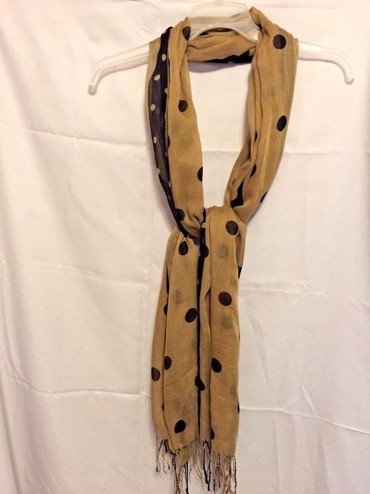 """Fashion Scarf Brown Polka Dot with 3"""" Fringe Light airy Rayon Blend 28""""x82"""" #Unbranded #Scarf #Any"""