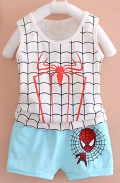 This Baby Boy Sleeveless T-Shirt with Short Pants is comfortable and  lightweight. It is printed with Spiderman designs, is your kid a spiderman  fan too?