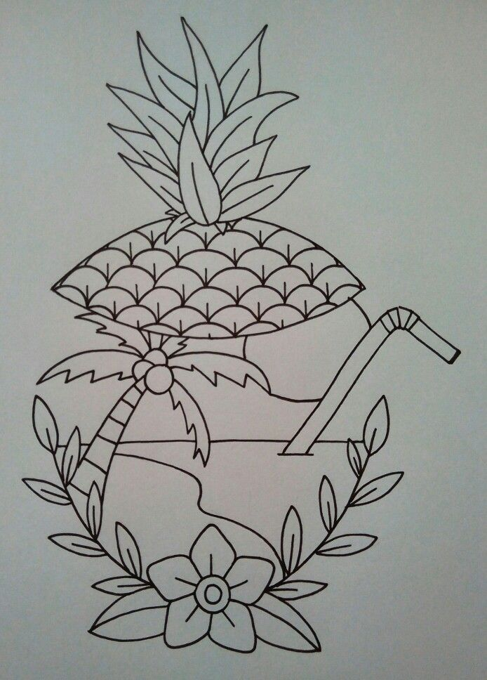 Tropical island, traditional tattoo flash. Cocktail, pineapple, palmtree and lots of sun. The ultimate holiday.